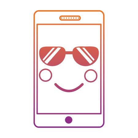 Illustration pour mobile phone character emoticon face vector illustration sketch design blur line gradient design - image libre de droit
