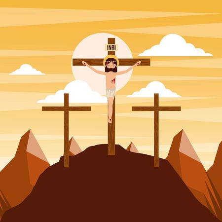 Illustration for crucifixion of jesus christ three crosses at sunset vector illustration - Royalty Free Image