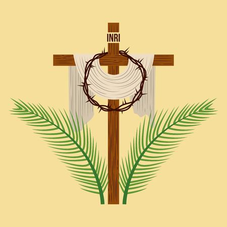 Illustration pour religious cross crown and palm branches vector illustration - image libre de droit