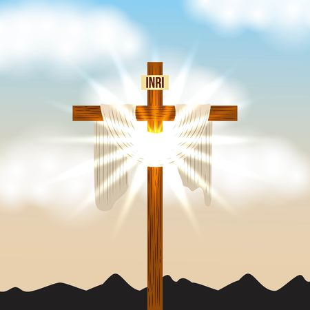 Illustration for cross inri and bright light sky radiant vector illustration - Royalty Free Image
