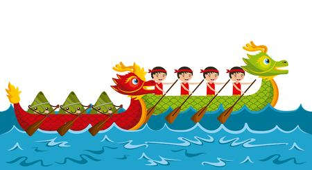 Ilustración de cartoon rowing team chinese rice dumpling festival vector illustration - Imagen libre de derechos