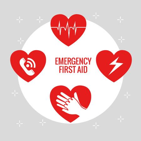 Ilustración de emergency first aid icons vector illustration design - Imagen libre de derechos