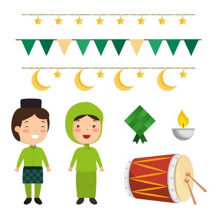 Illustration for selamat hari raya aidilfitri vector illustration design - Royalty Free Image