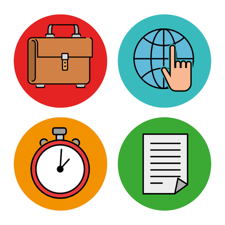 Illustration for Education school set icons in multicolored circle. Vector illustration design. - Royalty Free Image