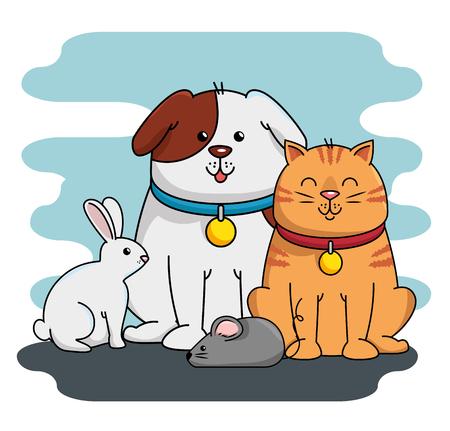Illustration pour A group mascots pet shop vector illustration design - image libre de droit
