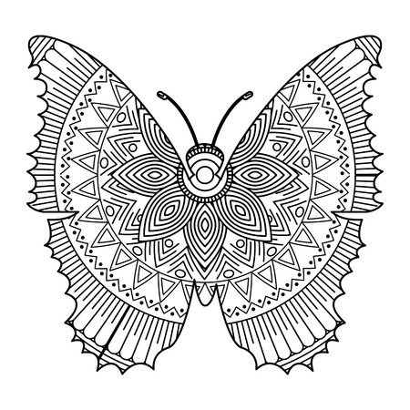 Illustration for A hand drawn for adult coloring pages with butterfly  sketch vector illustration. - Royalty Free Image
