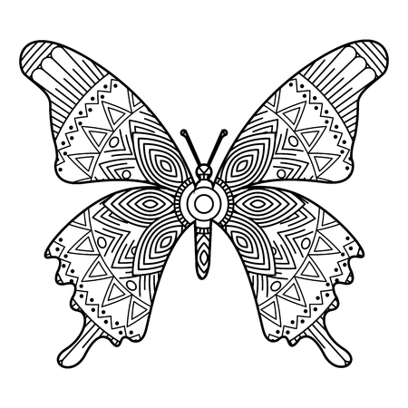 Illustration for hand drawn for adult coloring pages with butterfly monochrome sketch vector illustration - Royalty Free Image