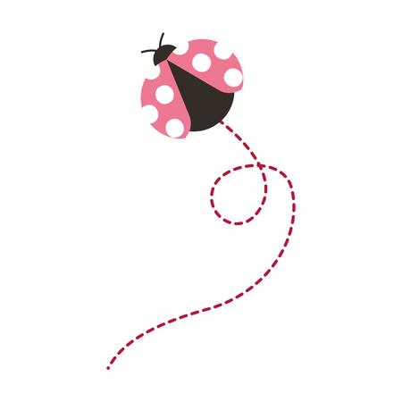 Ilustración de cute flying ladybug animal cartoon vector illustration - Imagen libre de derechos
