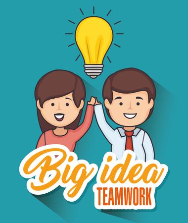 Illustration pour Man and woman holding hands with light bulb and big idea teamwork sign vector illustration - image libre de droit