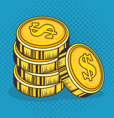 Ilustración de Golden coins over blue background vector illustration - Imagen libre de derechos