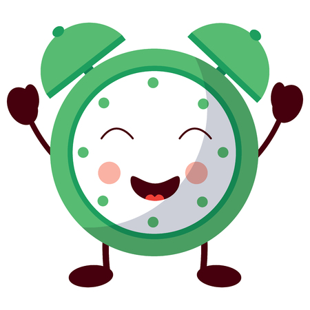 Ilustración de cartoon clock alarm character vector illustration - Imagen libre de derechos