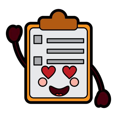Illustration pour paper love clipboard  character cartoon vector illustration - image libre de droit