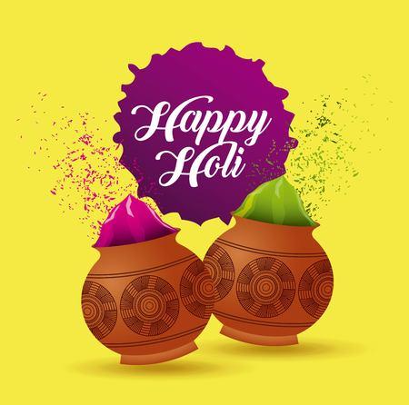Ilustración de happy holi poster mud pot color filled yellow background vector illustration - Imagen libre de derechos