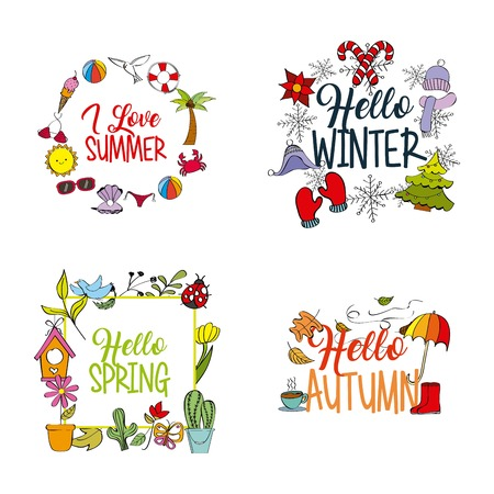 Ilustración de weather season winter summer autumn spring vector illustration - Imagen libre de derechos