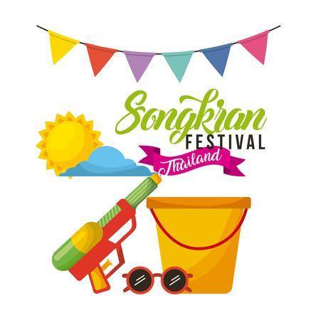 Illustration pour songkran festival thailand bucket sunglasses water garland celebration vector illustration - image libre de droit