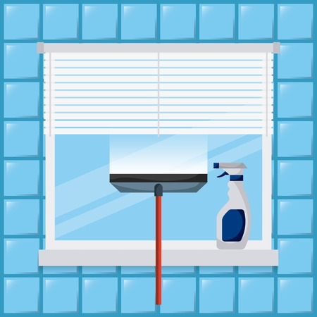 Illustration pour cleaning window tool squeegee spray bottle vector illustration - image libre de droit