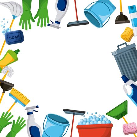 Illustration pour spring cleaning supplies border tools of housecleaning background vector illustration - image libre de droit