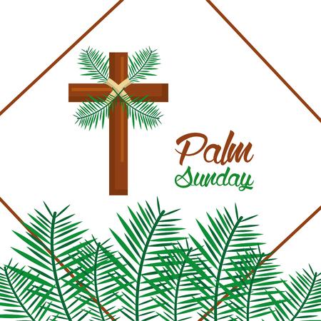 Illustration pour palm sunday happy easter celebration vector illustration - image libre de droit
