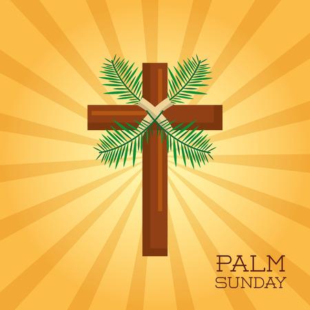Illustration pour palm sunday cross card celebration christianity vector illustration - image libre de droit