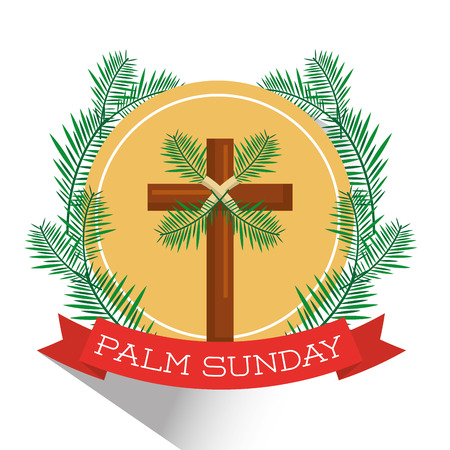 Illustration pour Palm Sunday badge vector illustration - image libre de droit