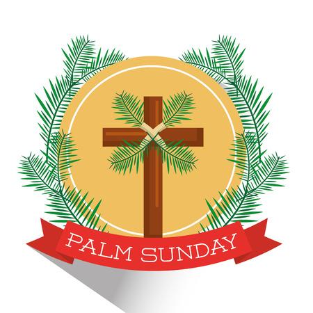 Illustration pour Palm Sunday badge vector illustration - image libre de droit