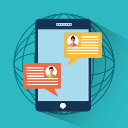Illustration pour smartphone message sms chat internet digital vector illustration - image libre de droit