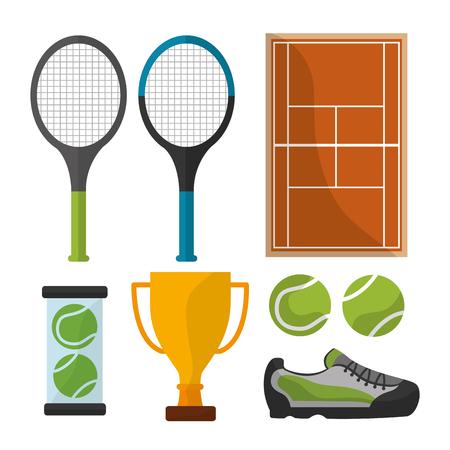 Ilustración de tennis sport equipment trophy court icons vector illustration - Imagen libre de derechos
