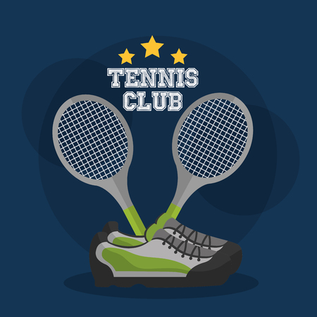Ilustración de tennis club racket crossed and sneakers equipment vector illustration - Imagen libre de derechos