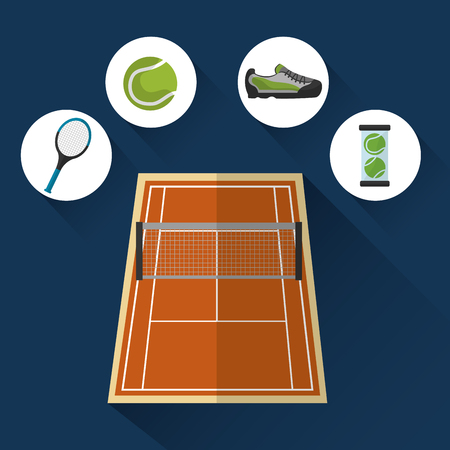 Ilustración de tennis court grid racket sneaker ball sport vector illustration - Imagen libre de derechos