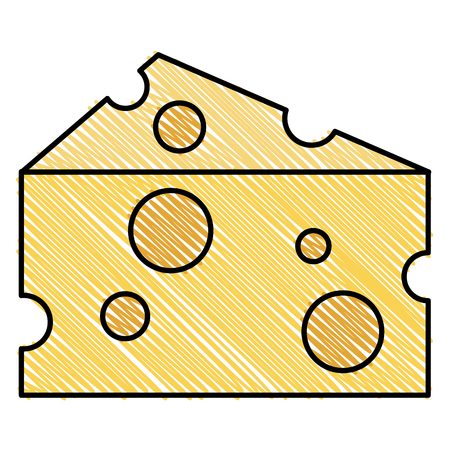 Illustration pour cheese piece isolated icon vector illustration design - image libre de droit