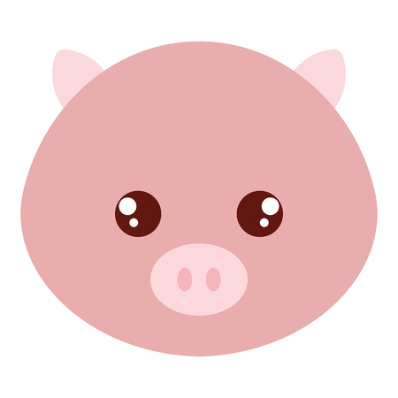 Illustration for Cute and tender pig head character - Royalty Free Image