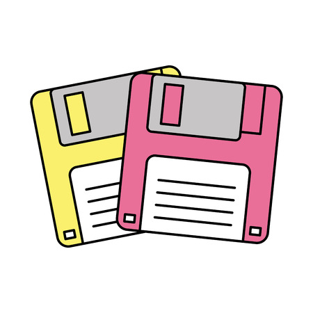 Illustration pour Two floppy memory vintage backup vector illustration - image libre de droit