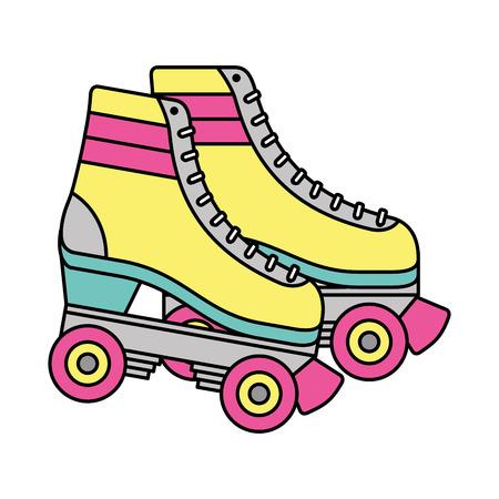 Ilustración de Retro roller skates wheels trendy vintage vector illustration - Imagen libre de derechos
