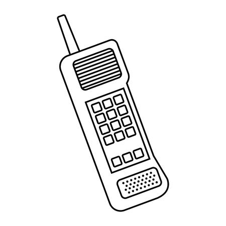 Ilustración de Old mobile phone vintage communication icon vector illustration - Imagen libre de derechos