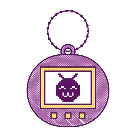 Ilustración de Tamagotchi game with pixel animal pet simulator vector illustration - Imagen libre de derechos