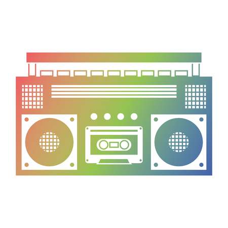 Ilustración de Retro stereo cassette player music recorder vector illustration - Imagen libre de derechos
