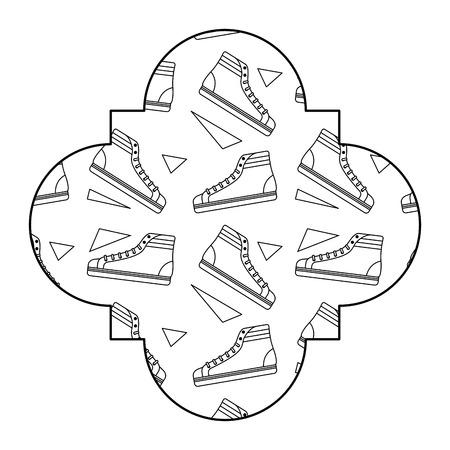 Ilustración de label vintage retro classic sneakers memphis desing vector illustration outline design - Imagen libre de derechos