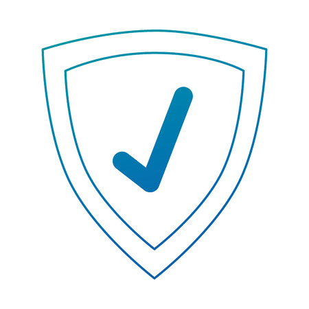 Illustration for shield with check icon vector illustration design - Royalty Free Image