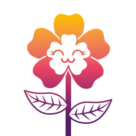 Ilustración de cute cartoon happy flower adorable vector illustration - Imagen libre de derechos