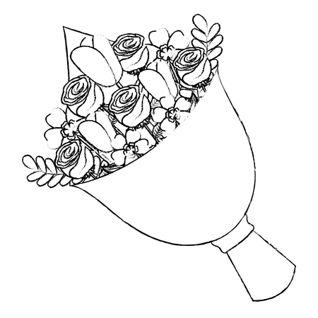 Illustration for cute floral bouquet fresh flowers wrapped vector illustration sketch image - Royalty Free Image