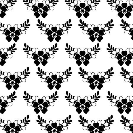 Illustration for delicate seamless floral pattern flower leaves vector illustration black image white background - Royalty Free Image
