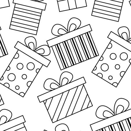 Illustration for seamless pattern decoration celebration gift boxes vector illustration - Royalty Free Image