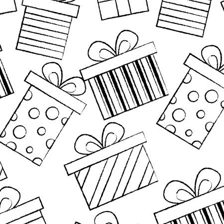 Illustration for seamless pattern decoration celebration gift boxes vector illustration sketch design - Royalty Free Image