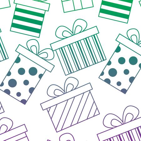 Illustration for seamless pattern decoration celebration gift boxes vector illustration color line gradient - Royalty Free Image