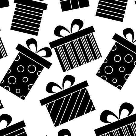 Illustration for Decoration seamless pattern celebration gift boxes vector illustration black image design. - Royalty Free Image
