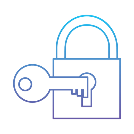 Ilustración de Technology padlock key protection security access vector illustration blue and purple line design - Imagen libre de derechos