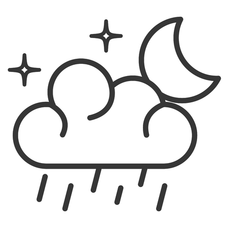 weather cloud rainy with moon vector illustration design