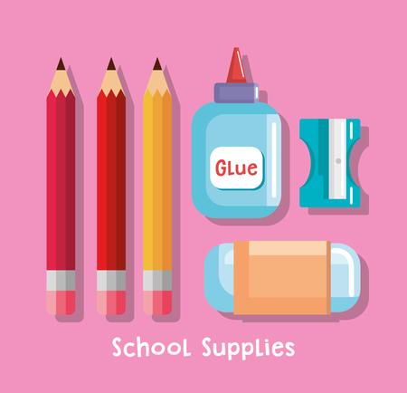 Illustration for school supplies set icons vector illustration design - Royalty Free Image