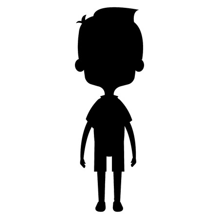 Illustration for Cute and little boy silhouette vector illustration design - Royalty Free Image