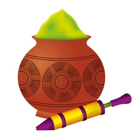 Ilustración de powder color mud pot and for celebration vector illustration - Imagen libre de derechos
